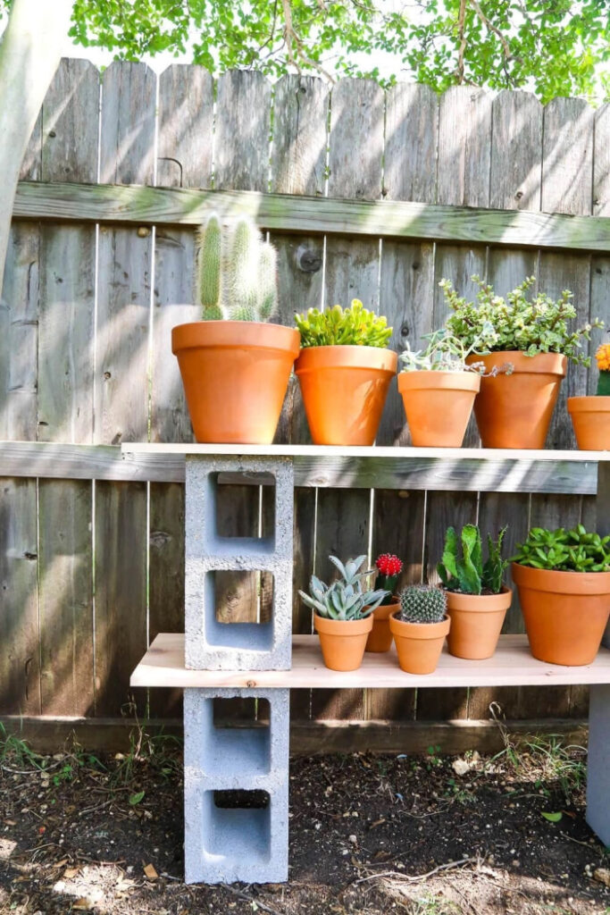 Easy Cinder Block Shelves (Perfect For Plants)