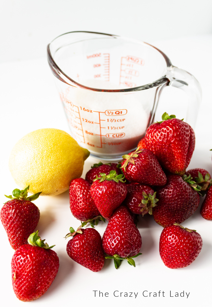 Ingredients needed to make Strawberry Soda Syrup