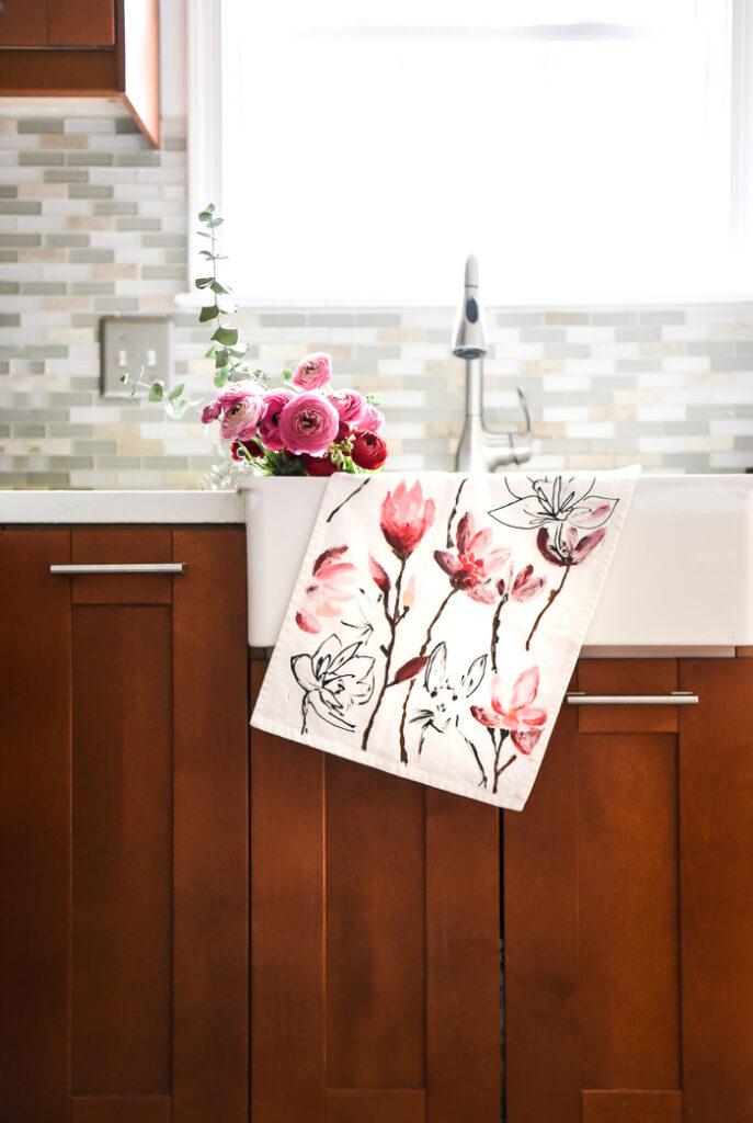 Painted Floral Tea Towel