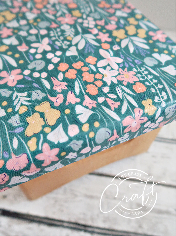 Stepstool makeover with fabric and Mod Podge