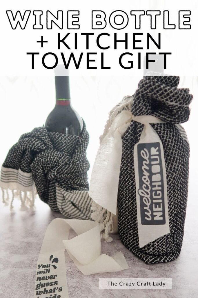 Wine bottle and kitchen towel gift idea