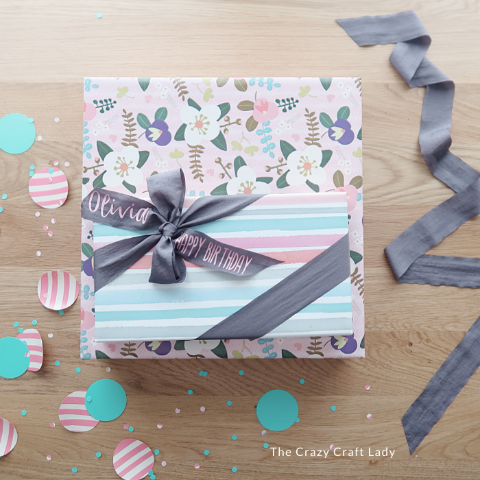 birthday present with customized gift wrap ribbon