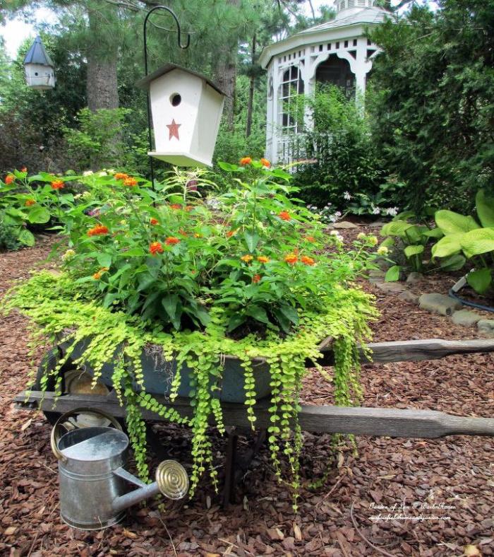Upcycled Garden Projects - cascading wheelbarrow planter