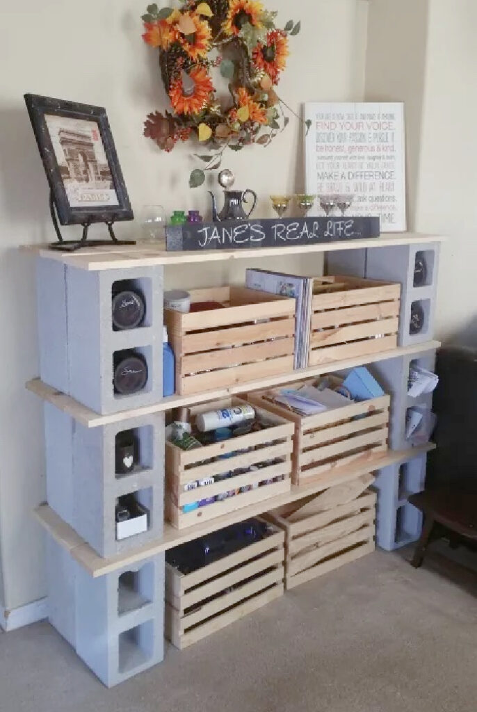 cinder clock and wood crate office shelves