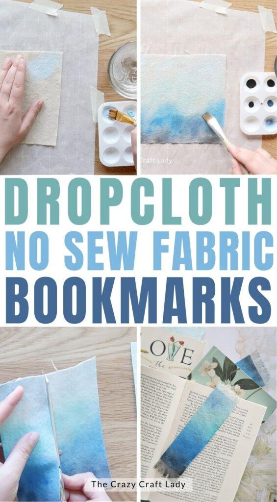 dropcloth no sew fabric bookmarks