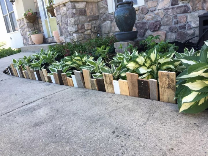 garden border made from old pallet wood