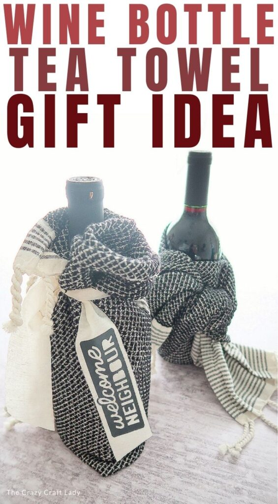 gift idea - wine bottle and kitchen towel