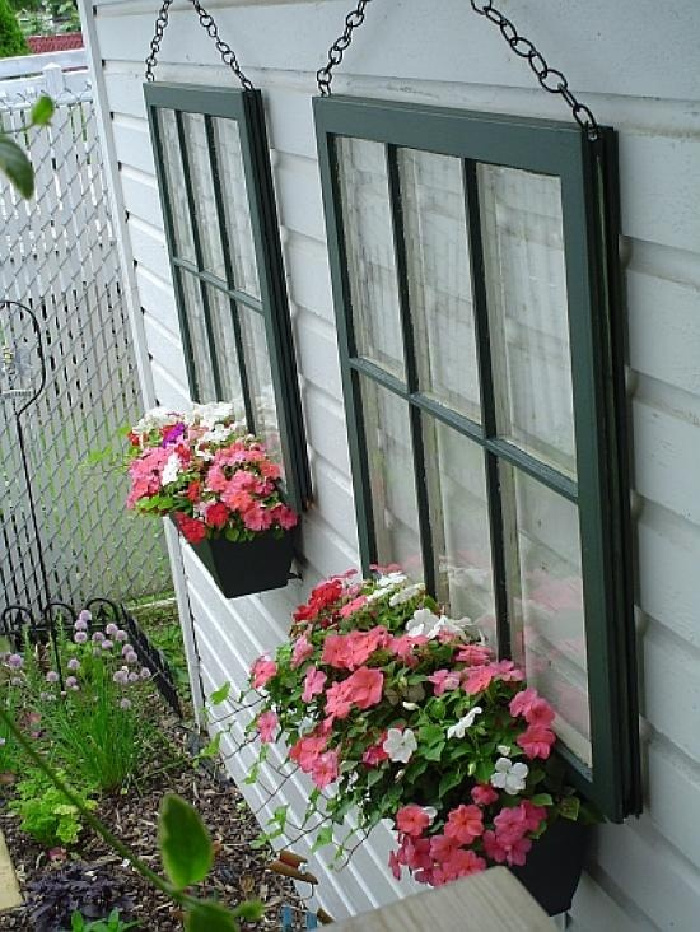 Repurposed Garden Projects - hanging window boxes