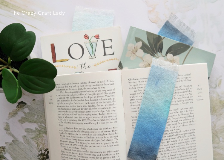 no sew fabric bookmarks made from drop cloth fabric
