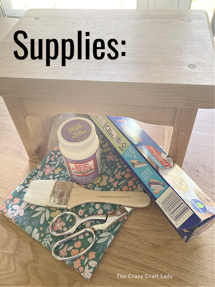supplies needed to Mod Podge fabric onto wood furniture