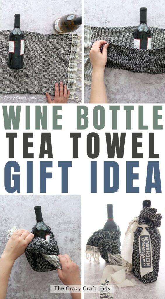 wine bottle tea towel gift idea