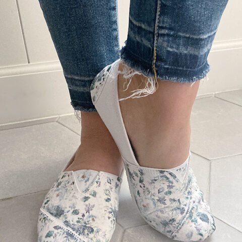 DIY floral sneakers using iron-on paper