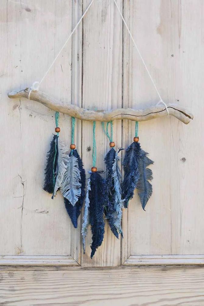 Denim Feather Wall Décor