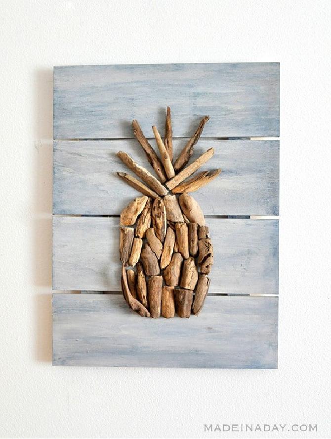 Driftwood Pineapple Pallet Wall Art