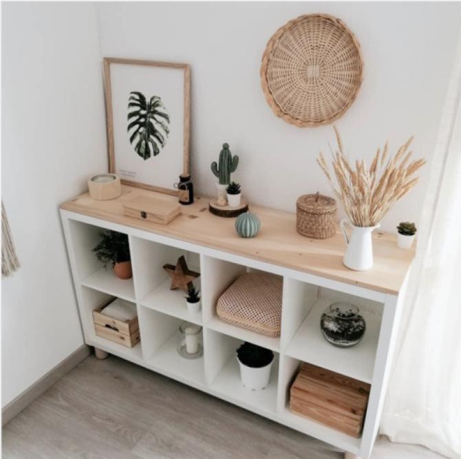 Wood Topped Cube Shelf