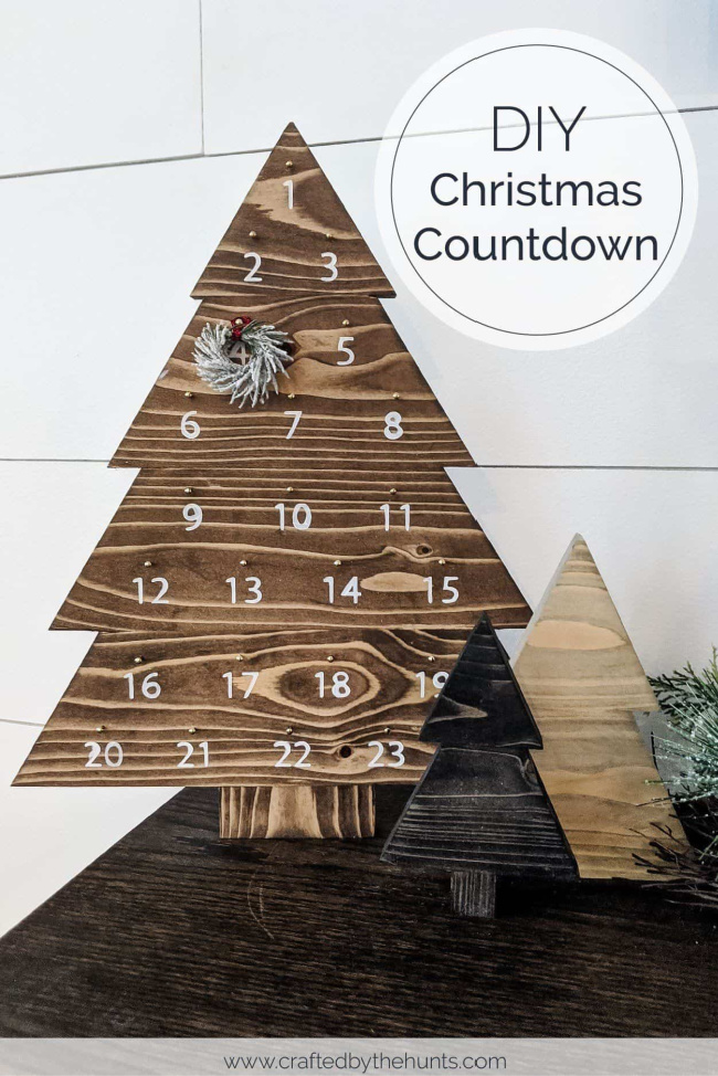 Wood tree Christmas countdown