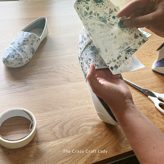adding an image to canvas shoes using photo transfer paper