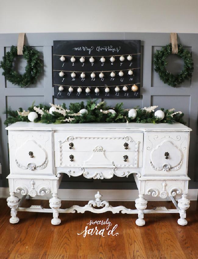 advent calendar with Christmas ornaments