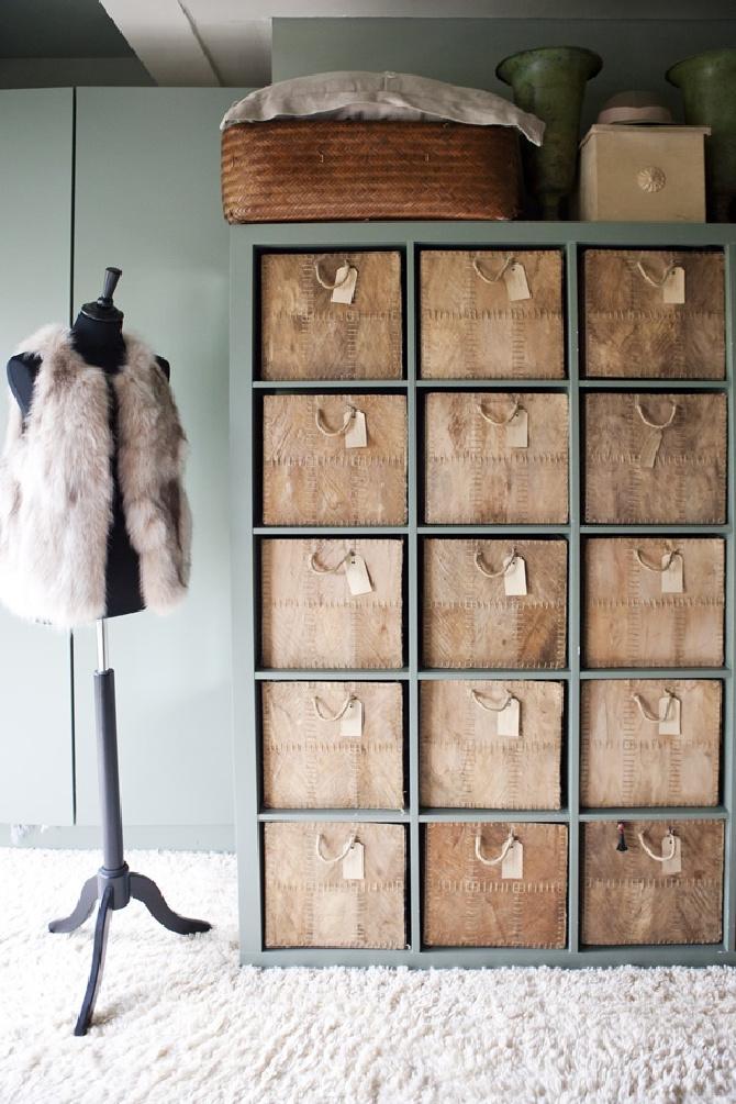 ikea Kallax closet storage with baskets