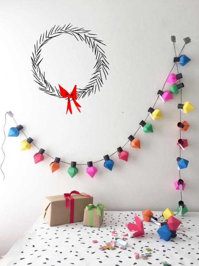 paper bulb Christmas countdown garland