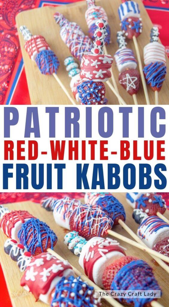 rote weiße blaue patriotische Fruchtspieße