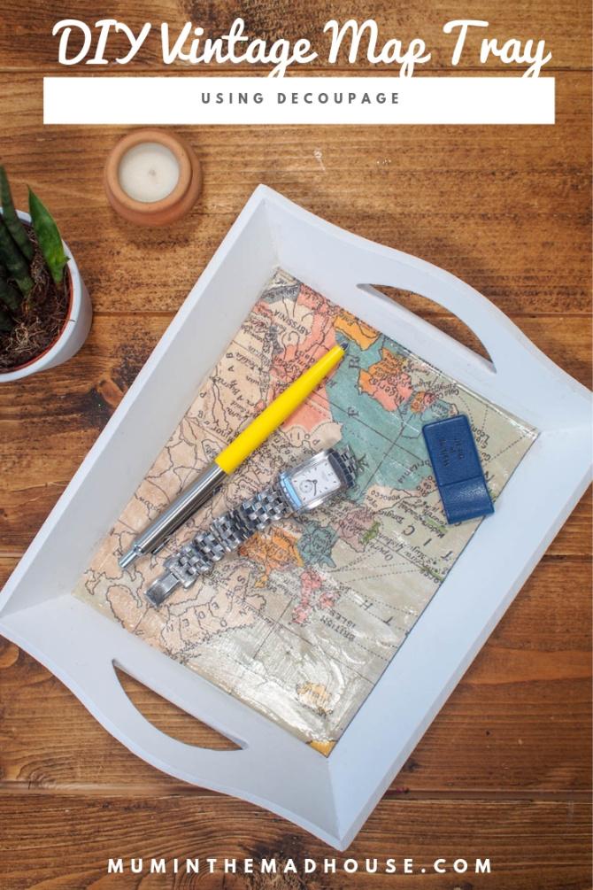 DIY Vintage Map Tray