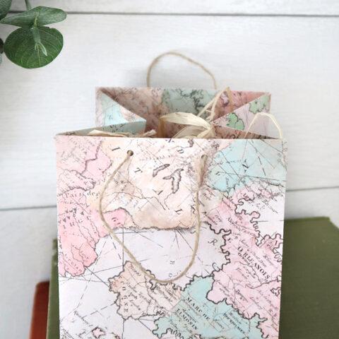 DIY map paper gift bag