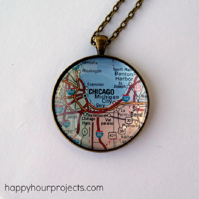 Glass Map Necklace DIY