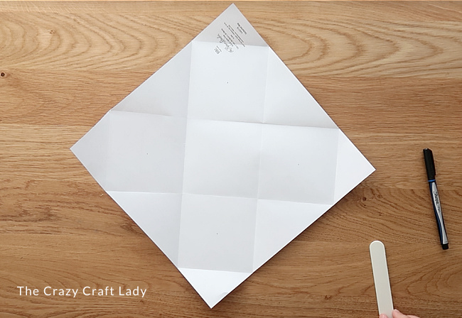 Grid made from pre-folding the paper