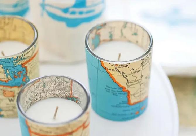Map Votive Candle
