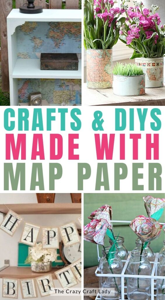 crafts and DIYs made with map paper