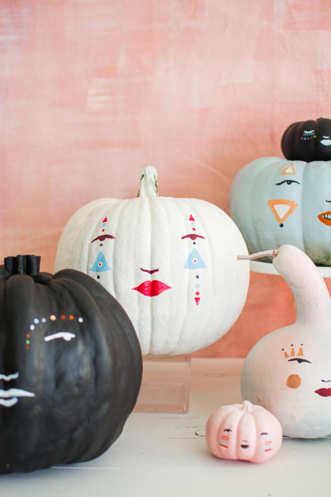 DIY Pastel Pumpkin Faces