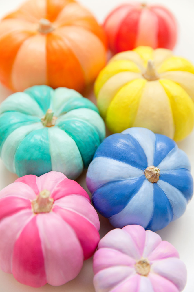 DIY Rainbow Painted Pumpkins