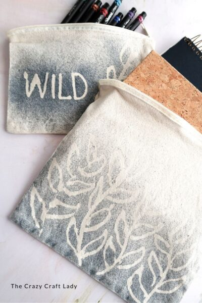 Glue Resist Painted Canvas Bags