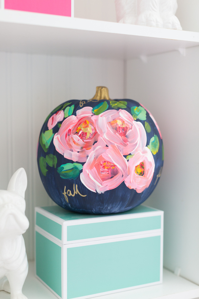 Hand Painted Floral Pumpkin