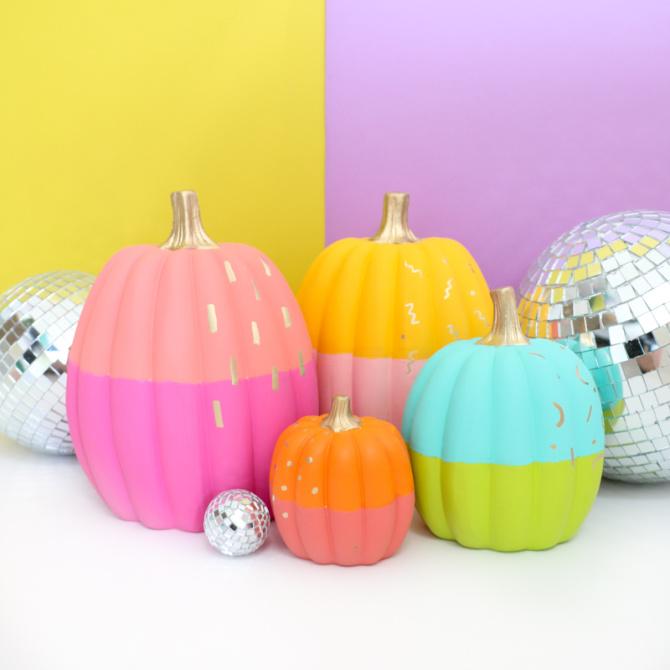 No-Carve Color-Blocked Pumpkins