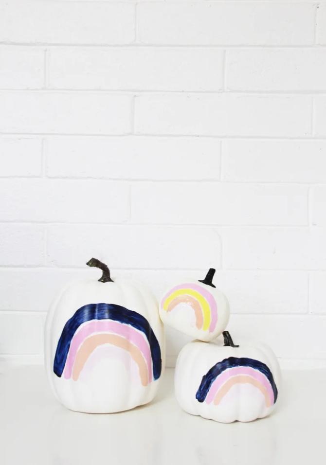 Rainbow Painted Pumpkins