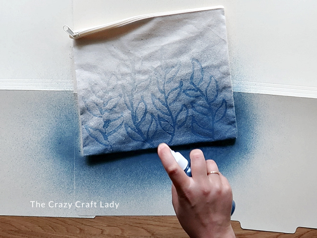 Spray the paint mixture onto the fabric
