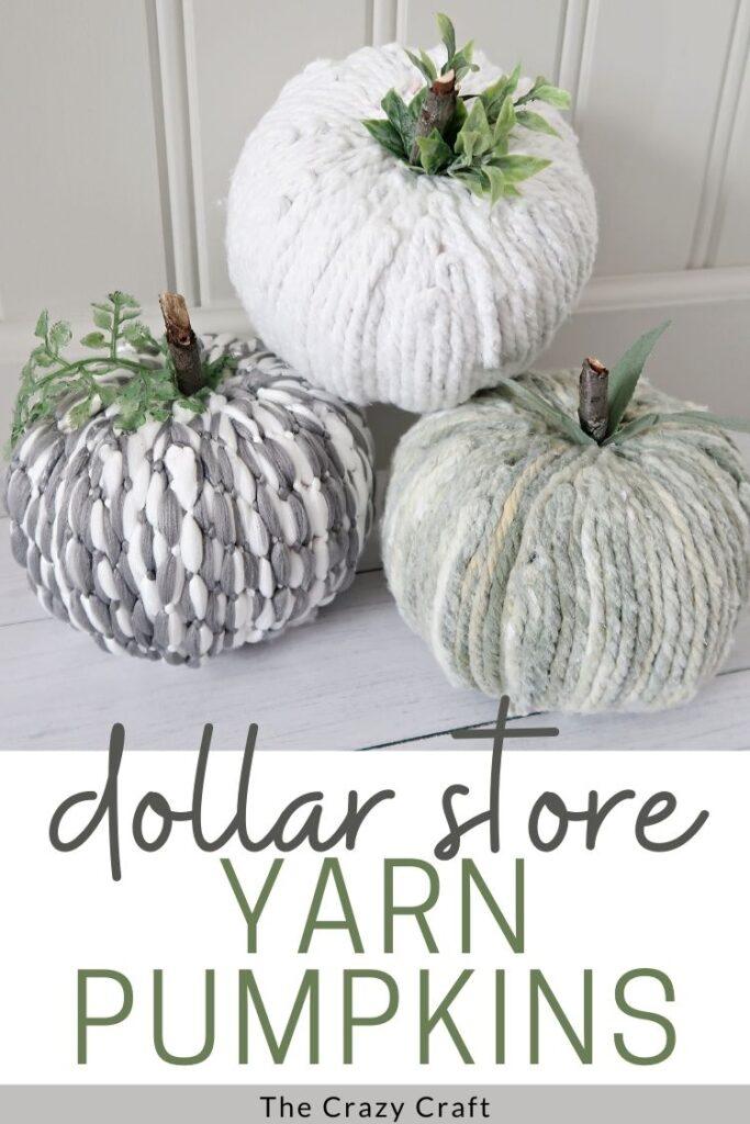 dollar store yarn pumpkins