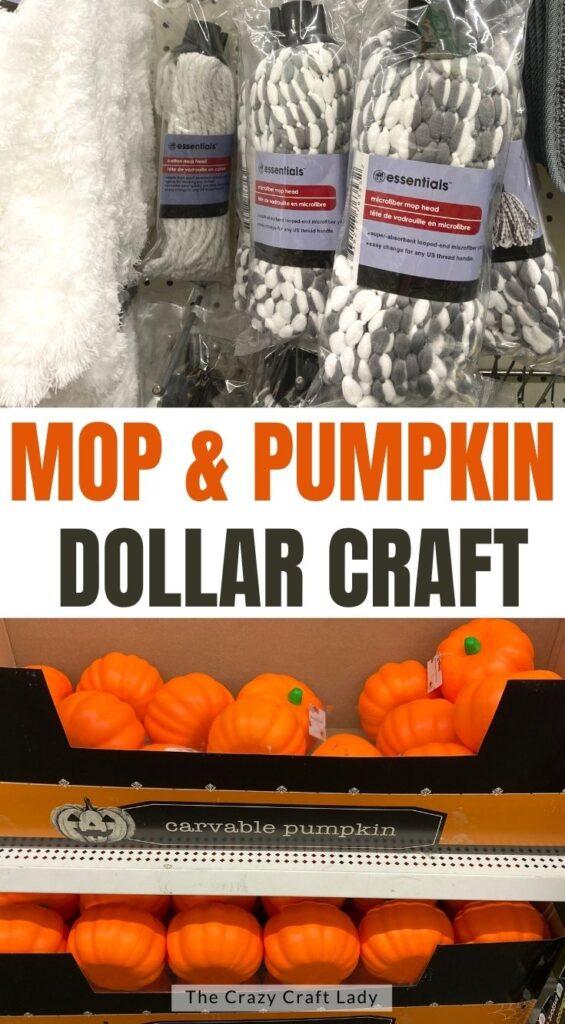mop and pumpkin dollar store craft