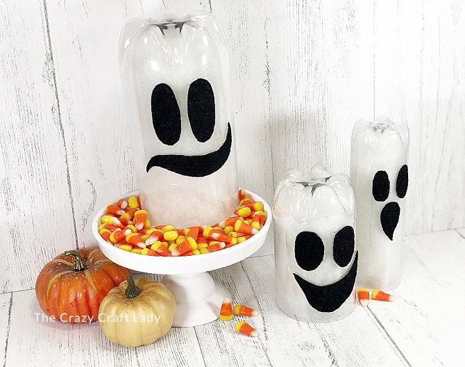 plastic bottle halloween ghosts