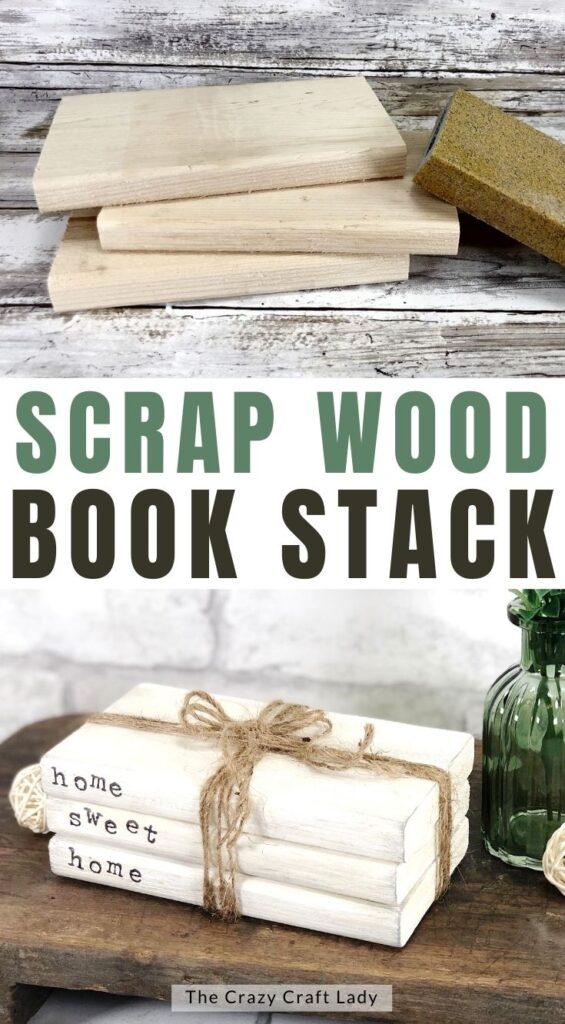scrap wood book stack craft
