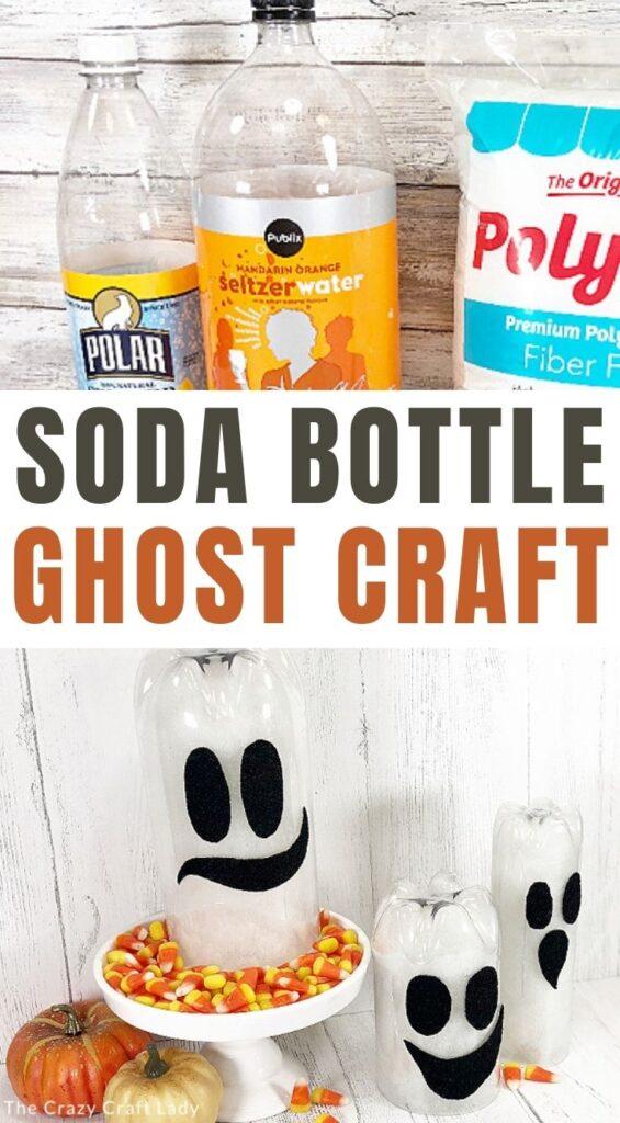 soda bottle ghost craft for Halloween