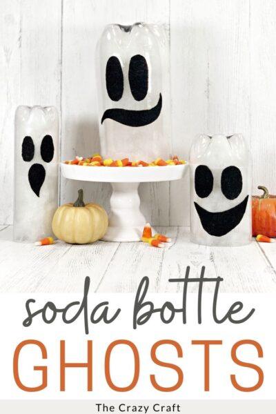 upcycled soda bottle ghosts