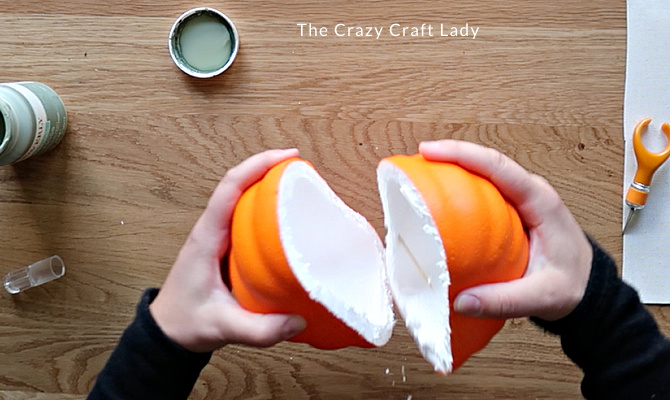 split the pumpkin half