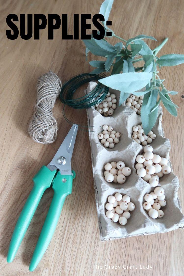 supplies needed to make wood bead pumpkins