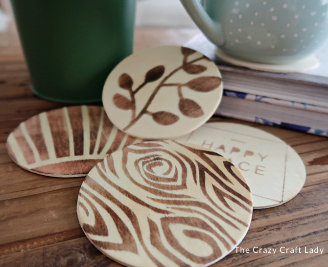 DIY wood coasters with Scorch Marker