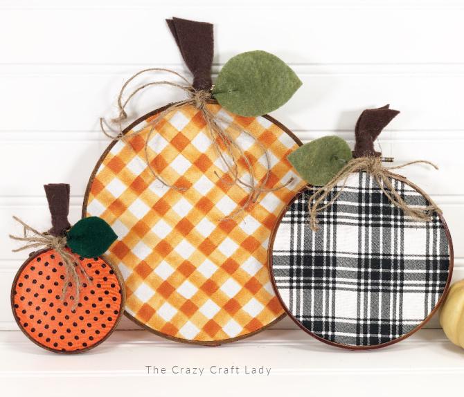 plaid embroidery hoop pumpkins