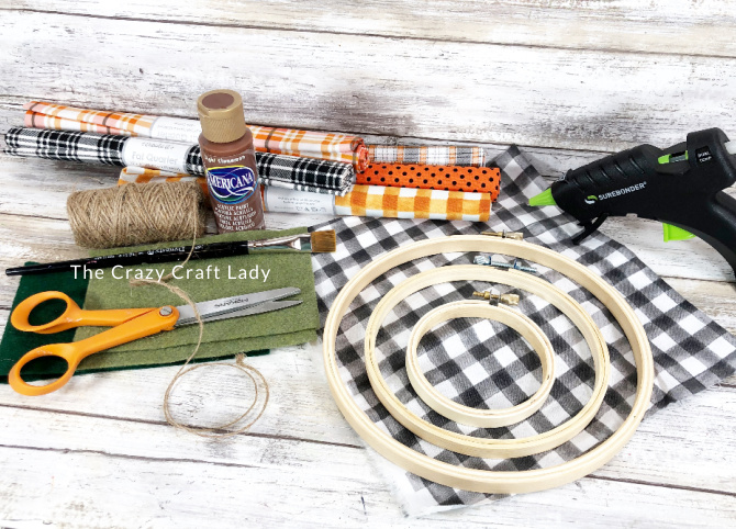 supplies needed to make embroidery hoop pumpkins
