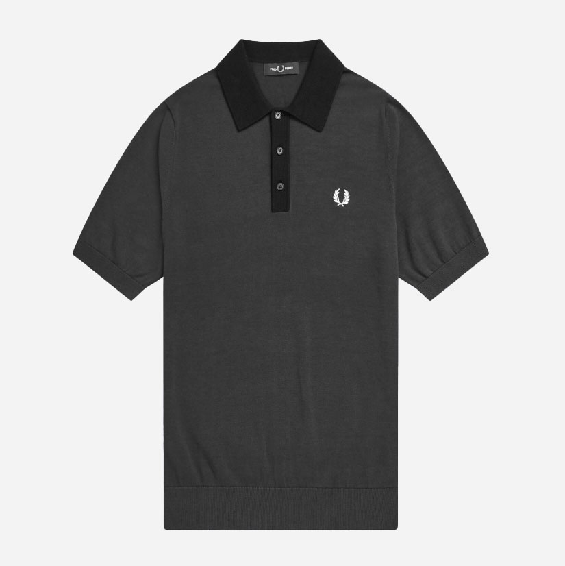 Fred Perry Tonal Knitted Polo - Anthracite 0